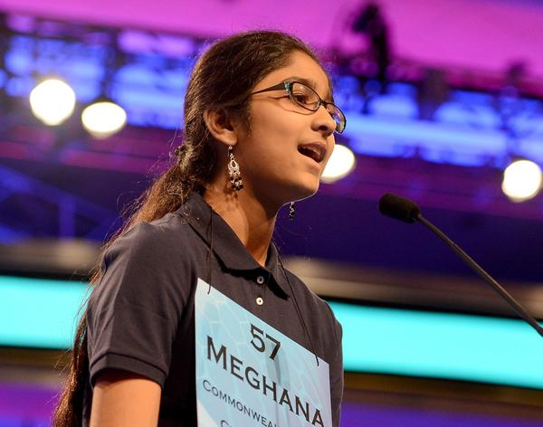 Meghana Kamineni of Chicago, Illinois, competes in the 2013 Scripps National Spelling Bee in Oxen HIll, Maryland, Wednesday, May 29, 2013.