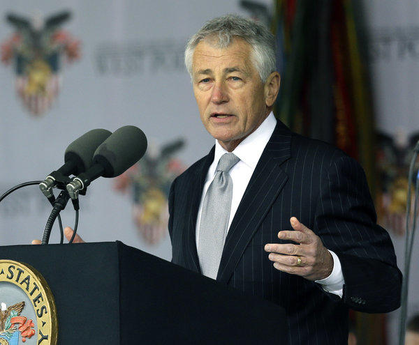 Defense Secretary Chuck Hagel speaks during a weekend graduation ceremony at West Point. He is en route to Singapore for a major security conference with his counterparts from the Asia Pacific region.