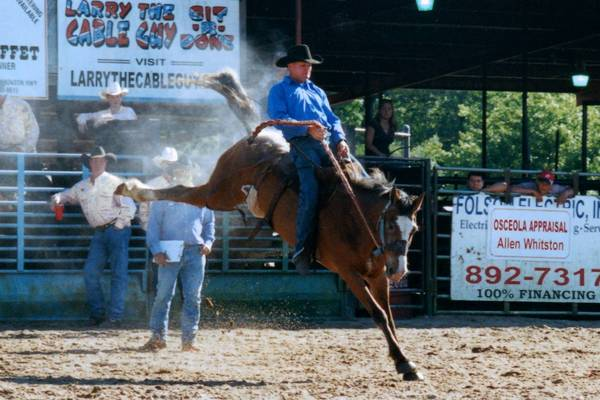 Ranch teams from Osceola County cattle ranches will compete in several events, including bronc riding, during a Ranch Rodeo on May 30, 2009 at the Silver Spurs Kenansville Arena.