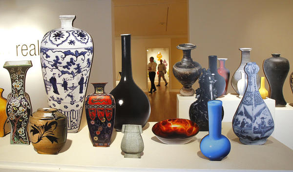 "Stephanie Syjuco's ""vases"" on display for upcoming new exhibition ""Faux Real"" at Laguna Art Museum."