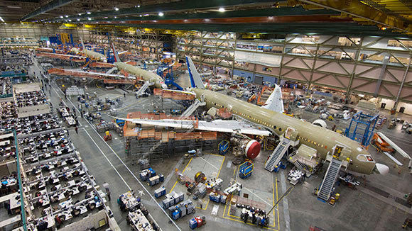 Four 787 Dreamliners on the assembly line at Boeing's factory in Everett, Wash.