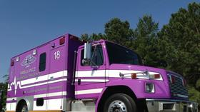 Medical transport van goes purple for Alzheimer's