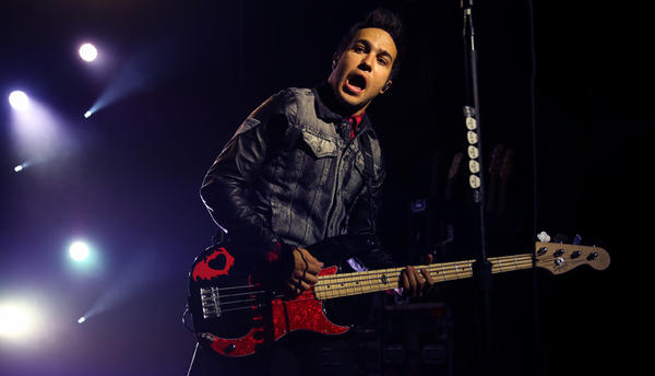 Fall Out Boy's Pete Wentz, shown during the band's May 16 concert at The Riviera, turns 34 June 5.