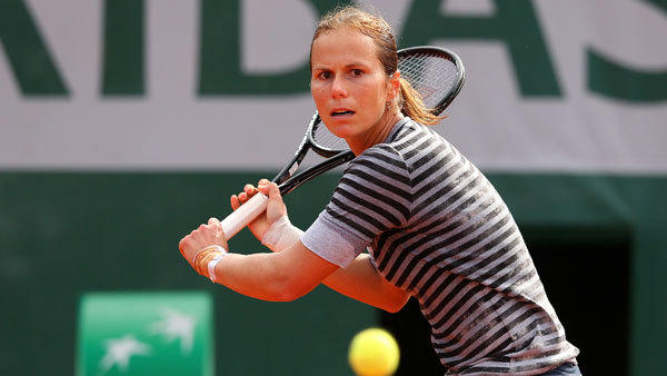 Varvara Lepchenko plays a backhand during her women's singles match against Angelique Kerber of Germany on day six of the French Open at Roland Garros in Paris on Friday.