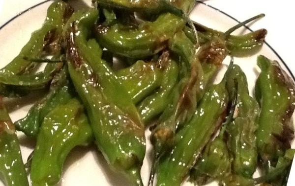 Fried shisito peppers.