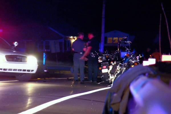 On Route 378 near Preston Lane, Upper Saucon Township police investigate a Thursday night accident that badly injured a motorcyclist and damaged a Lower Saucon police car.