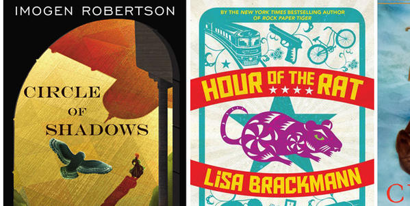 "The covers of ""Circle of Shadows,"" ""Hour of the Rat"" and ""The Curiosity."""