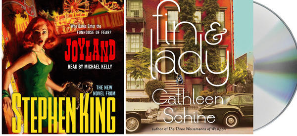 "The audio book covers of ""Joyland"" and ""Fin & Lady."""
