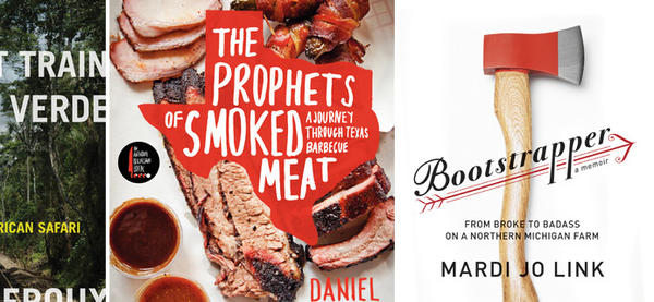 "The covers of ""The Last Train to Zona Verde,"" ""The Prophets of Smoked Meat"" and ""Bootstrapper."""