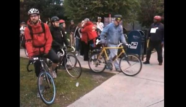 """Robert """"Bobby"""" Cann (left in red jacket) and Philip Bird (right in black jacket) participate in the annual Ride of Silence in 2011."""
