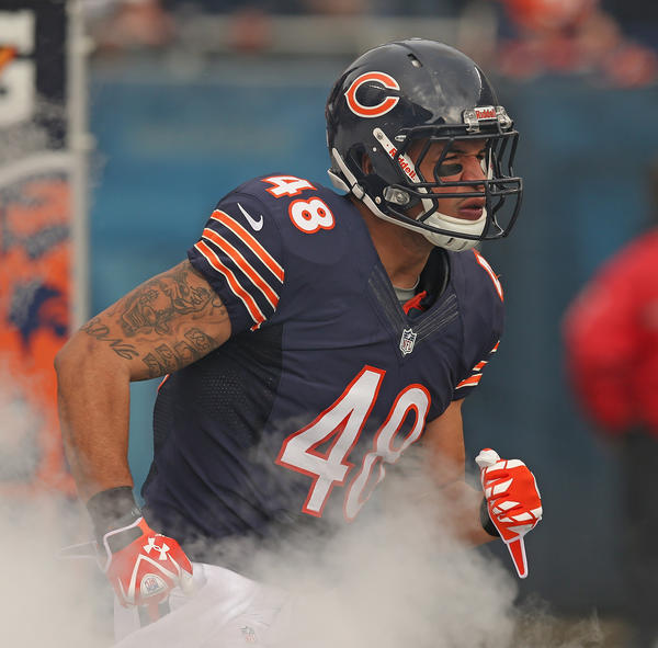 Chicago Bears tight end Evan Rodriguez.