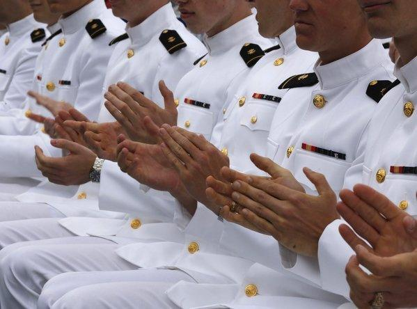 Naval Academy midshipmen during the U.S. Naval Academy commencement ceremony in Annapolis, Md., on May 24.