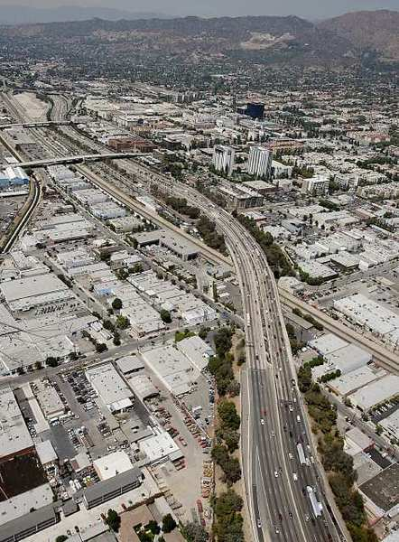 An aerial view of Interstate 5 in Burbank.