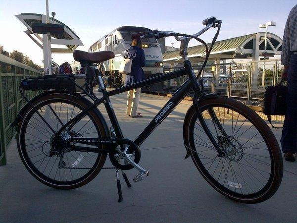My Pedego City Commuter electric bicycle at the Tustin train station.