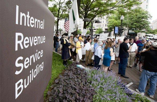 Tea party supporters rally outside IRS headquarters in Washington last month to protest extra scrutiny of their organizations