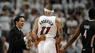 Miami Heat backup center Chris Andersen has been suspended for Saturday's Game 6 of the Eastern Conference finals against the Indiana Pacers, with his Flagrant 1 foul in Thursday's Game 5 victory upgraded Friday by the NBA to a Flagrant 2 foul.