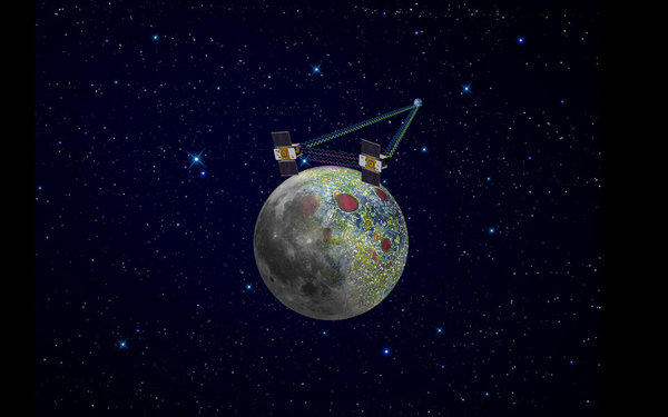The twin GRAIL spacecraft Ebb and Flow mapped the moon's gravity field, as depicted in this artist's rendering, helping scientists solve a long-standing lunar mystery.