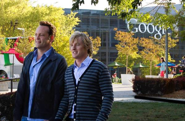 "Vince Vaughn and Owen Wilson are on Google's campus in Mountain View, Calif., in a scene from ""The Internship."""