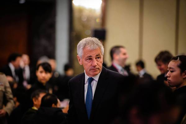 Chuck Hagel appears at a gathering of defense officials in Singapore, his first visit to Asia as U.S. secretary of Defense.
