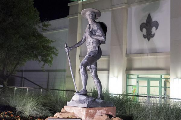 "A statue titled ""Trail to Manhood"" stands outside the National Scouting Museum in Irving, Texas in this picture taken May 22, 2013."