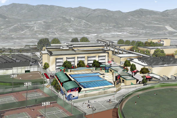 A rendering of the Glendale Unified Aquatic Center at Glendale High School, which the school board recently approved. The pool is 54 meters by 25 yards.