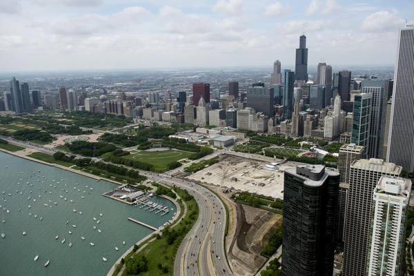 The downtown Chicago skyline and Lake Michigan are seen in this aerial photograph over Chicago, Illinois, May 30, 2013.