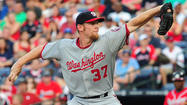 ATLANTA -- Washington won the game, but the mood in the Nationals' clubhouse after the 3-2 victory over the Atlanta Braves was not celebratory. There was concern about the health of ace Stephen Strasburg, who had to be removed after pitching only two innings because of a strained muscle.