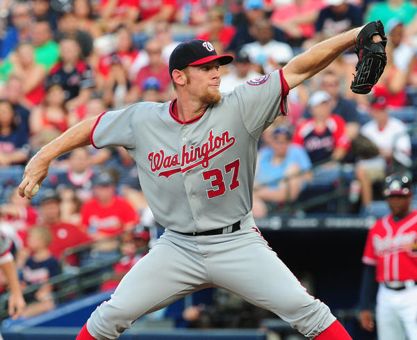Stephen Strasburg #37 of the Washington Nationals pitches against the Atlanta Braves at Turner Field on May 31, 2013 in Atlanta, Georgia.