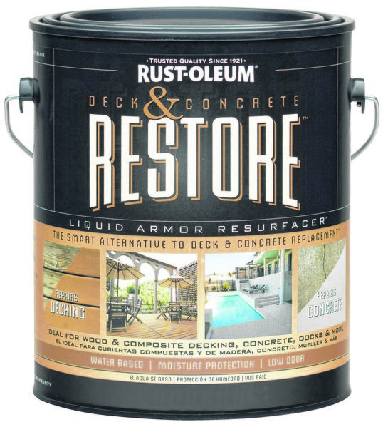 Rust-Oleum Deck and Concrete Restore is 10 times as thick as regular paint or stain. It's meant for surfaces that are structurally sound but unattractive