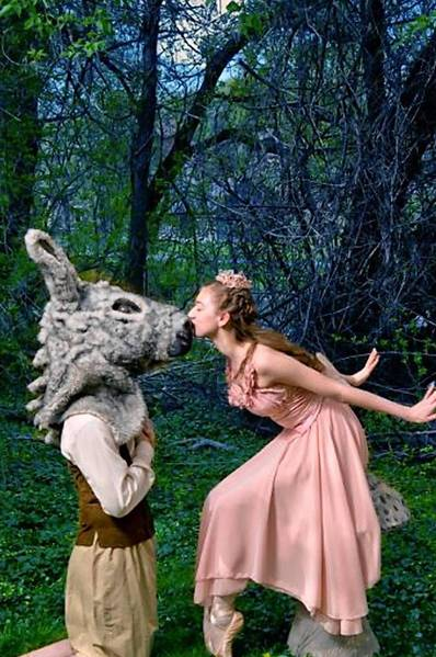 Dylan Keane, a professional dancer for The Suzanne Farrell Ballet, is dancing the role of Bottom, the donkey, and Pennsylvania Youth Ballet student Ava Gilotti, is dancing the role of Titania, queen of the fairies in 'Midsummer Night's Dream.'