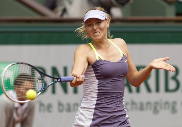 Maria Sharapova during her match against Jie Zheng on Day 7.