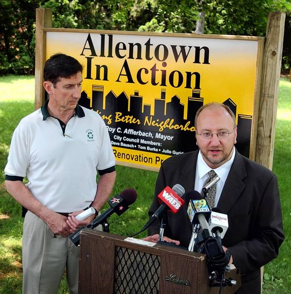 In happier times (2002), then-Allentown Mayor Roy Afflerbach (left) and his top aide, then-Director of Community Development Ed Pawlowski, were on the same team.