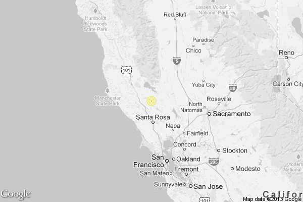 A map showing the location of the epicenter of Saturday afternoon's quake near The Geysers, California.