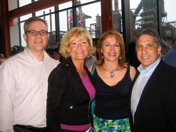 Ed and Lisa Boscola (left), Marta Gabriel and Tom Jebran were among the 450 guests at Miller-Keystone Blood Center's Cruise to the Greek Isles fundraiser May 10 at SteelStacks.