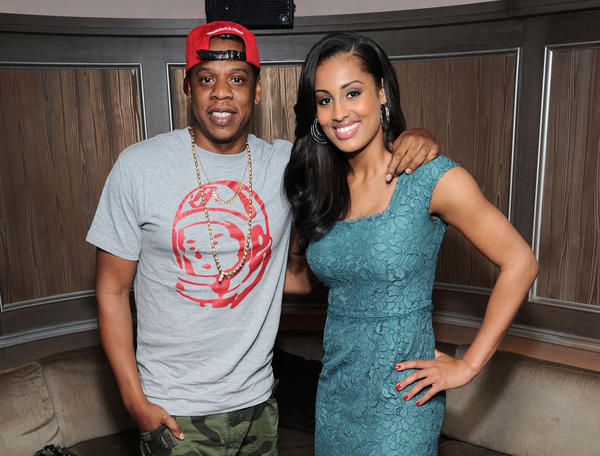 Jay-Z and Skylar Diggins attend a reception for Diggins at 40 / 40 Club in New York City.