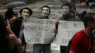 A group of demonstrators marched in Chicago yesterday to show support for anti-government protests in Istanbul and other large cities in Turkey.