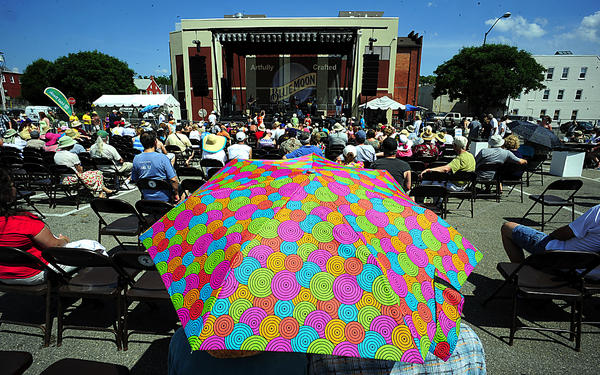 Umbrellas were popular Saturday at Blues Fest Saturday in Hagerstown City Center.