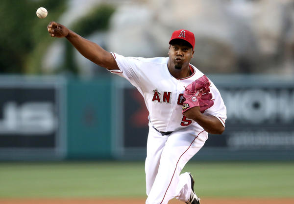 Angels starter Jerome Williams pitches against the Houston Astros at Angel Stadium.
