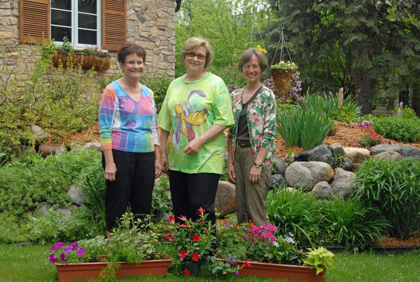 Among the organizers of the Questers Garden Walk are, from left, Carolyn Eaton, Sue Wischmeier and Cec Peters.