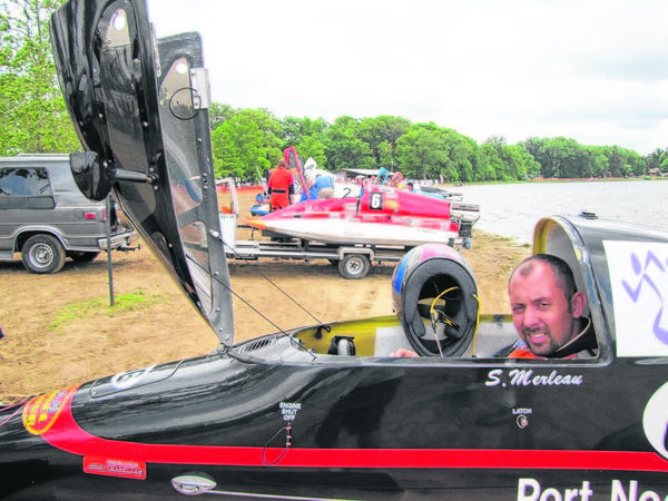 Racer Steve Merleau, of St. Joseph, in his boat as he prepares for a time trial Saturday.