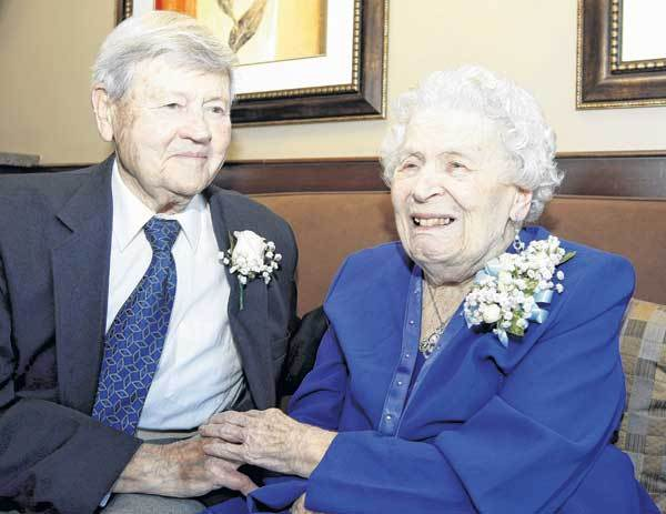 Leon Caenepeel, 97, and Helen Caenepeel, 96, speak about their 75th wedding anniversary at West Bend Nursing and Rehabilitation in South Bend.