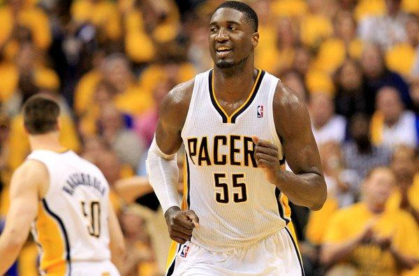 Pacers center Roy Hibbert during his team's 91-77 victory Saturday night over the Miami Heat in Indianapolis.