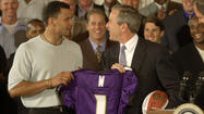 "<strong>June 7, 2001:</strong> At the White House, President George W. Bush greets the NFL champion Ravens, who present him with an autographed football and a personalized jersey. ""It was cool, man,"" defensive tackle Tony Siragusa says. ""[But] I was depressed that they didn't have the buffet ready."""