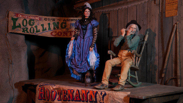 The Calico hootenanny scene in the refurbished Timber Mountain log ride at Knott's Berry Farm.