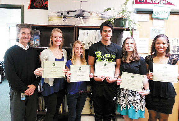From left, Andy Gossard, career guidance specialist, Michaela Brewer, Jennifer Harman, Darius Dobre-Mofid, Stephanie Young and Sydne Arnold.