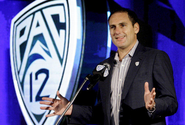 Pac12 Commissioner Larry Scott talks during the Pac12 NCAA college football media day.