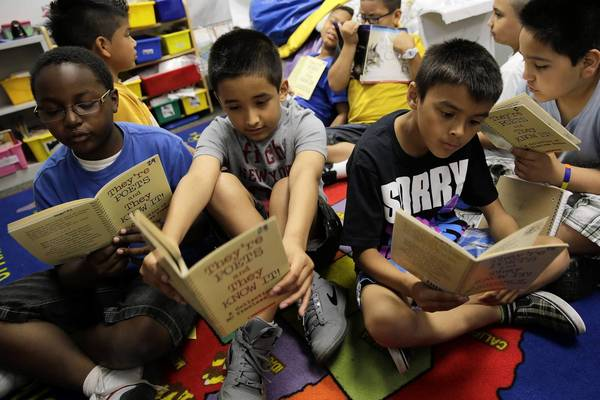 Third-graders gather for reading time at Sunny Hill Elementary School in Carpentersville. About 28 percent of students have Individualized Education Programs, which is special education work, and are integrated into general education classrooms.