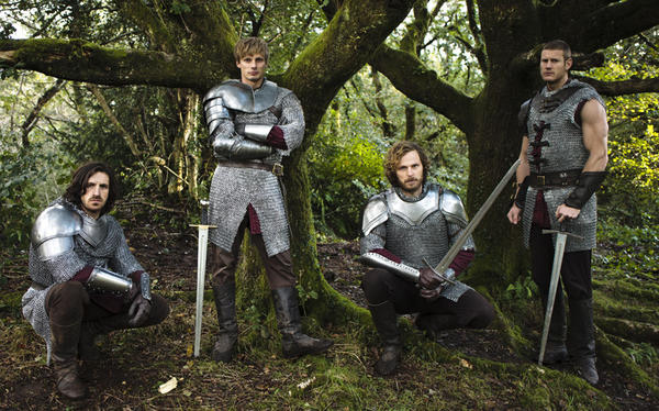 Rupert Young (as Sir Leon, second from right), with Eoin Macken (as Gwaine, from left), Bradley James (as King Arthur) and Tom Hopper (Percival).