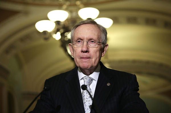 Senate Majority Leader Sen. Harry Reid (D-Nev.) speaks after a weekly Senate Democratic caucus meeting on Capitol Hill in Washington.