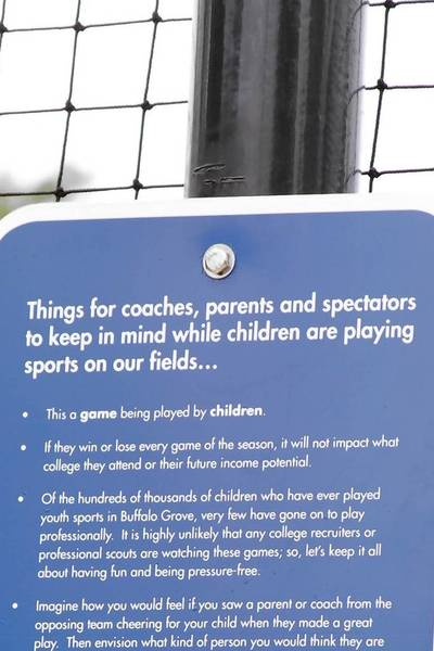"""Adult behavior"" signs were posted by the Buffalo Grove Park District to address poor sportsmanship."